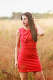 Filled with the joys of Autumn. Young fashionable woman with long hair in a red dress on a strewing meadow in the autumn Royalty Free Stock Photography