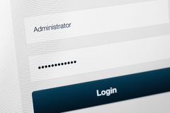 Filled login and hidden by dots password at login screen. On the website Stock Photos