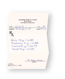 Filled in medical prescription  on white. Background Royalty Free Stock Photography