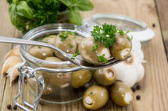 Filled Olives on a fork Royalty Free Stock Photography