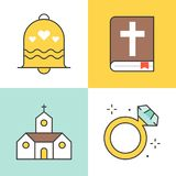 Wedding related filled outline Icon royalty free illustration