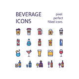 Filled outline icons set of DRINKS & BEVERAGES pictogram symbol collection. Filled outline icons set for website banner, printing , book cover and corporate Stock Images