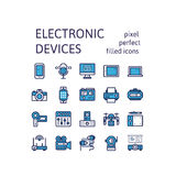 Filled outline icons set of ELECTRONIC DEVICES pictogram symbol collection. Filled outline icons set for website banner, printing , book cover and corporate Stock Photos