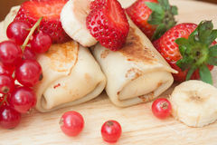 Filled pancakes with fresh berries Royalty Free Stock Images