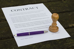 Filled paper contract Royalty Free Stock Image