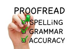 Filled Positive Proofread Checklist Concept. Hand filling Proofread checklist concept with checked boxes on spelling, grammar and accuracy stock photos