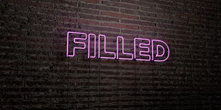 FILLED -Realistic Neon Sign on Brick Wall background - 3D rendered royalty free stock image Stock Photo