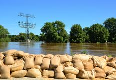 Filled sandbags as protection against floods Royalty Free Stock Photography