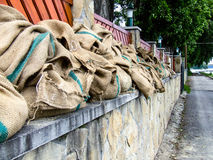 Filled sandbags during flood in Budapest Royalty Free Stock Image