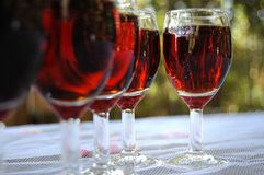 Filled Sherry Glasses Royalty Free Stock Image
