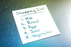 Filled Shopping List Reminder On Paper On Brushed Aluminum Stock Image