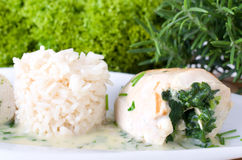 Filled with spinach chicken with rice Royalty Free Stock Photo