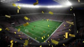 Filled stadium and confetti. Digital animation of a filled stadium with lights while gold confetti fall in the screen stock illustration