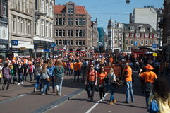 Filled streets in Amsterdam Royalty Free Stock Images