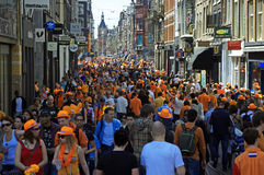 Filled streets in Amsterdam during Queen's Day Royalty Free Stock Photography