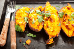 Filled sweet potatoes Stock Photo