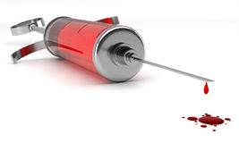 Filled syringe. Render of a retro stylized syringe filled with red liquid or blood on white background. Perspective view. Blood donation concept Stock Image