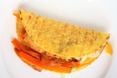 Filled taco from above Royalty Free Stock Photos