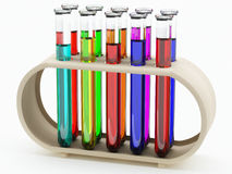 Filled test tubes in holder Stock Photo