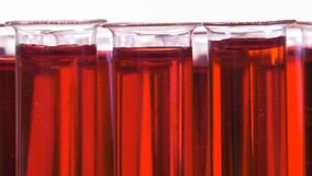 Filled test tubes with red liquid on a turntable stock footage