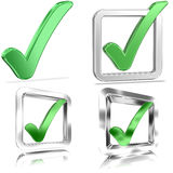 Filled Tickboxes v1. Shiny Tickboxes Filled With Green Check Marks Royalty Free Stock Photo