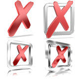 Filled Tickboxes v2. Shiny Tickboxes Filled With Red Check Marks Stock Photos