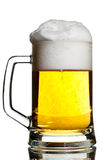 Filled to the brim. Transparent keg filled to the brim on white Stock Image