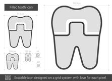 Filled tooth line icon. Royalty Free Stock Images