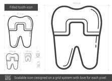 Filled tooth line icon. Filled tooth vector line icon isolated on white background. Filled tooth line icon for infographic, website or app. Scalable icon Stock Photography