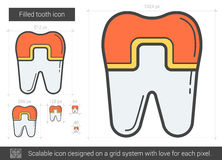 Filled tooth line icon. Filled tooth vector line icon isolated on white background. Filled tooth line icon for infographic, website or app. Scalable icon Stock Photo