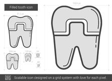 Filled tooth line icon. Stock Images
