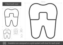 Filled tooth line icon. Filled tooth vector line icon isolated on white background. Filled tooth line icon for infographic, website or app. Scalable icon Stock Photos