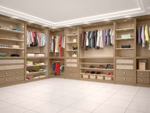 Filled with wardrobe in a modern style. Royalty Free Stock Photography