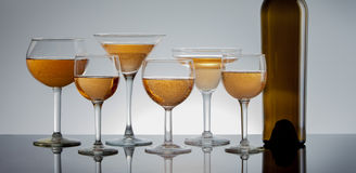 Filled wine glasses panorama. Royalty Free Stock Photography