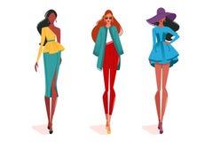 Filles à la mode dans le mouvement, sur le défilé de mode illustration de vecteur