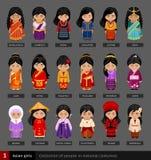 Filles asiatiques dans la robe nationale illustration de vecteur