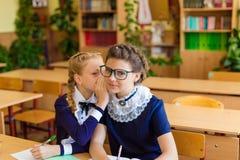 Filles aux bureaux d'école Photo stock