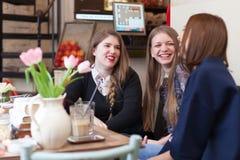 Filles ayant un petit entretien dans le café Image libre de droits