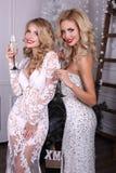 Filles blondes sexy dans des robes luxueuses, célébrant Noël Images libres de droits