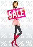 Filles d'achats de mode avec la vente de panneau Photos libres de droits