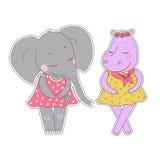 Filles d'hippopotame et d'éléphant avec les yeux fermés ayant une guirlande de fleur sur la tête Photographie stock