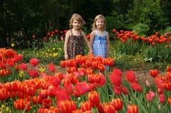 Filles dans le jardin de tulipe Photo stock