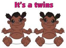 Filles de bébés de nègre de jumeaux et lettres roses illustration libre de droits