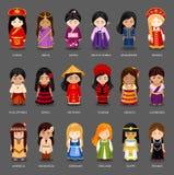Filles de bande dessinée dans différents costumes nationaux illustration libre de droits