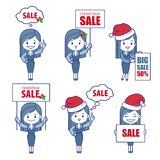 Filles de caractères d'affaires pour la bannière de vente de vacances Photographie stock