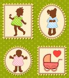 Filles de dessin animé de cru petites Photo stock