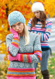 Filles de l'adolescence ayant des problèmes Image libre de droits