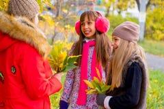 Filles de la préadolescence se parlant en parc Photo stock