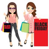 Filles de mode de Black Friday illustration de vecteur
