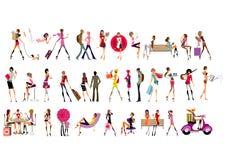 Filles de mode dans des attitudes sociales Image stock